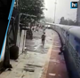CCTV: Man dangling from moving train saved in Mumbai