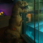 'Dinosaur' Sue snuck out to say hi to penguins Darwin and Izzy. Watch