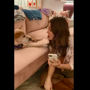 Drew Barrymore's dog Douglas 'helps' her select a word for scrabble. Watch