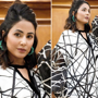 Hina Khan aces 'not the cool girl' monochrome fashion in graphic dress