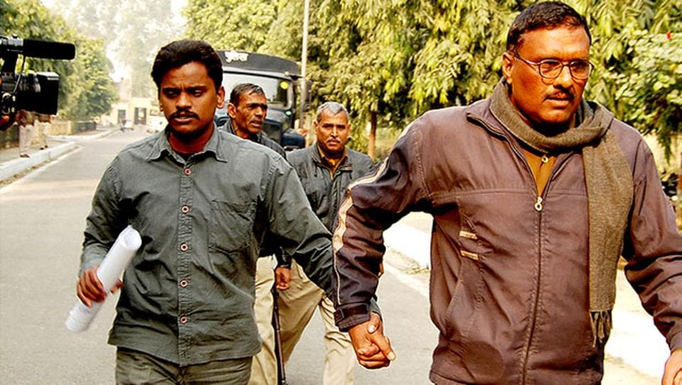 Nithari convict Surinder Koli being taken to Ghaziabad court from Dasna District Jail for a judgement last year.