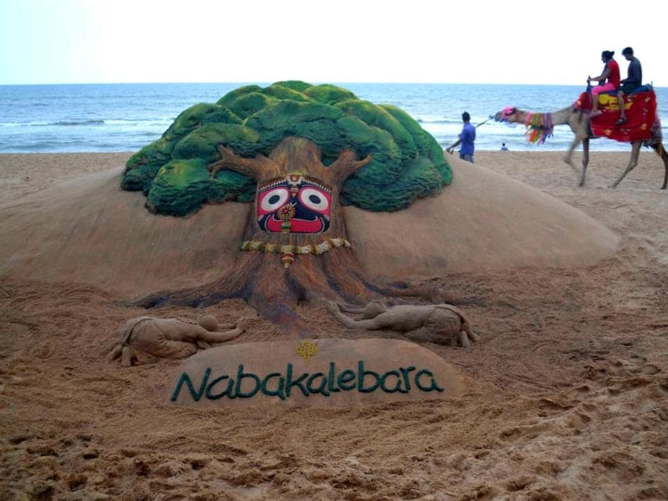 Sand artist Sudarsan Pattnaik's sand sculpture on Nabakalebara at Golden Sea Beach Puri, some 65 km from Bhubaneswar. The term Nabakalebara is an ancient ritual associated with most of the Jagannath Temples when the idols of Lord Jagannath, Balabhadra, Subhadra and Sudarshan are replaced by a new set of idols.  Artist Pattnaik will be teaching sand art soon through the Indira Gandhi National Open University (IGNOU) online programmes.