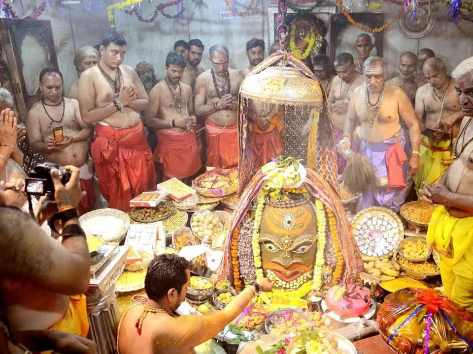 Annakut celebration at Lord Mahakal temple in Ujjain. The new resolution says at present during the famous Bhasma Aarti (special prayer with sacred ash), half of the lingam is covered with cloth.