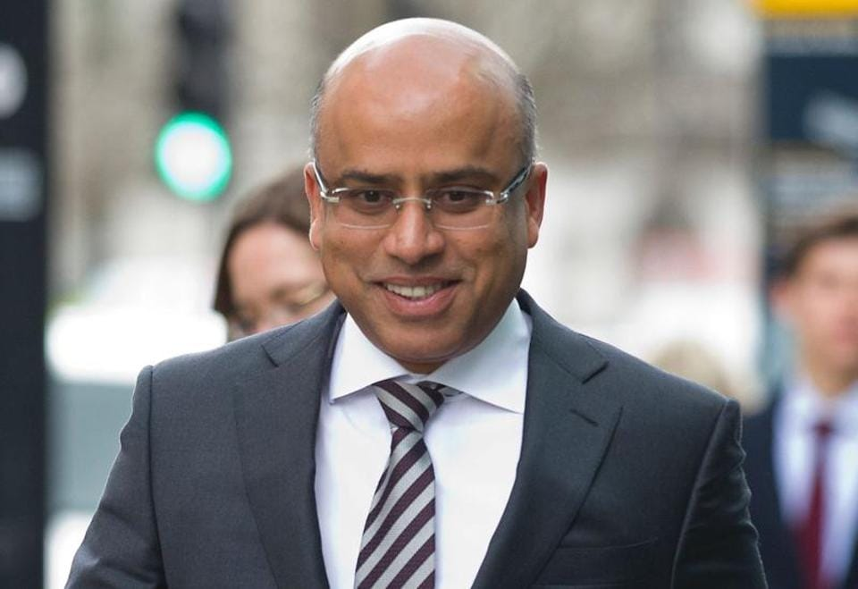 Sanjeev Gupta, the head of steel and metals company Liberty House arrives at the Department for Business, Innovation and Skills for talks in central London.
