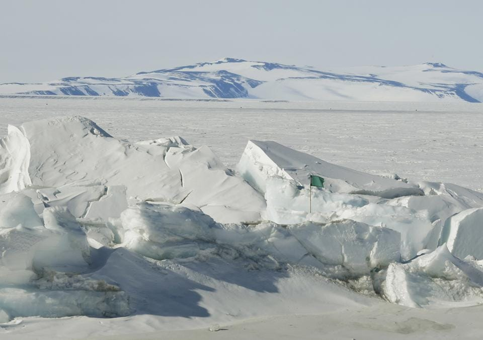 A frozen section of the Ross Sea at the Scott Base is pictured in Antarctica Saturday, Nov. 12, 2016. U.S. Secretary of State John Kerry became the highest-ranking American official to visit Antarctica when he landed for a two-day trip on Friday. He's been hearing from scientists about the impact of climate change on the frozen continent. (Mark Ralston/Pool Photo via AP)