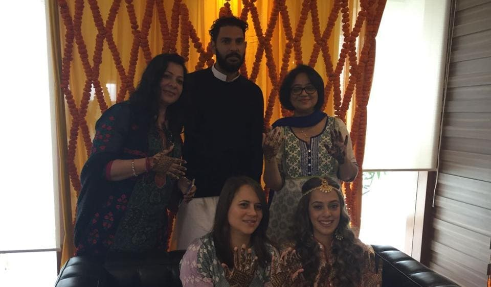 Shabnam Singh with son Yuvraj Singh, and Hazel Keech with her mother and sister Tina Keech at the Mehendi function on Tuesday.