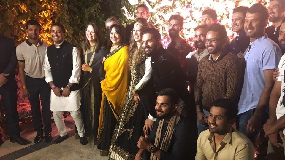Led by skipper Virat Kohli, the victorious Indian team join the pre-wedding function of Yuvraj Singh and Hazel Keech.