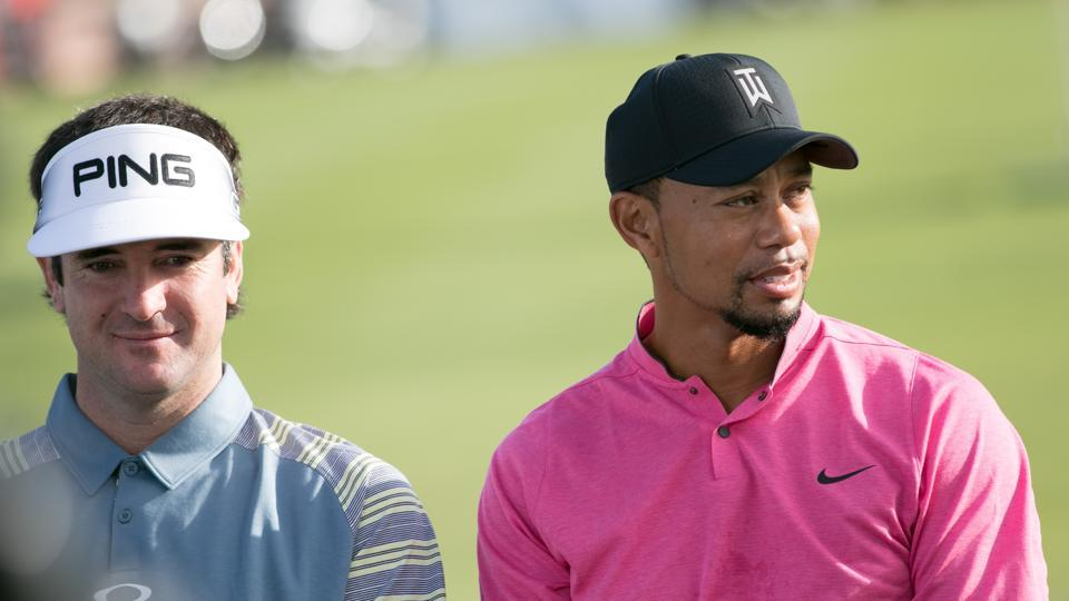 Tiger Woods with Bubba Watson ahead of the Hero World Challenge that starts from Thursday.