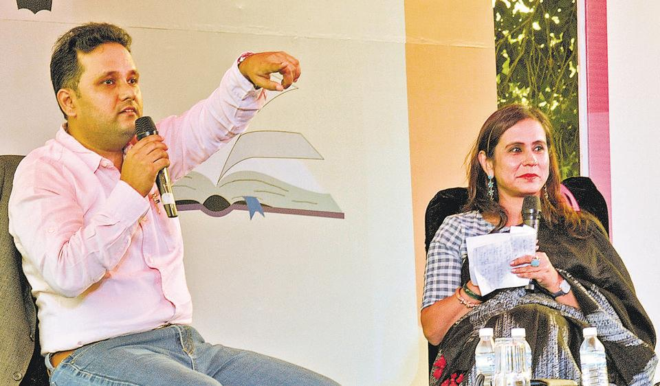 Author Amish Tripathi interacting with the audience during the Literati at Lake Club in Chandigarh on Sunday