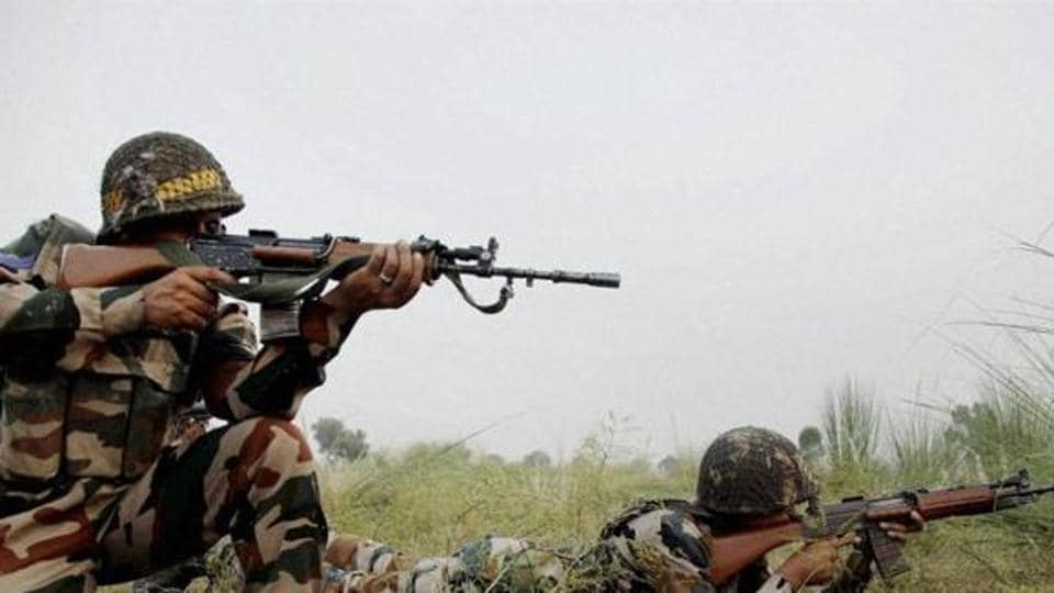 Indian Army soldiers on alert near the Line of Control in Pallanwal sector about 70 km from Jammu.