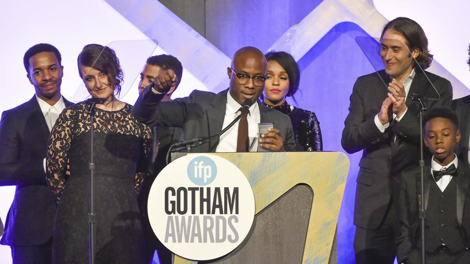 Writer - director Barry Jenkins accepts the Best Feature Film award with the rest of the Moonlight cast at the 26th Annual Gotham Independent Film Awards at Cipriani Wall Street on Monday.