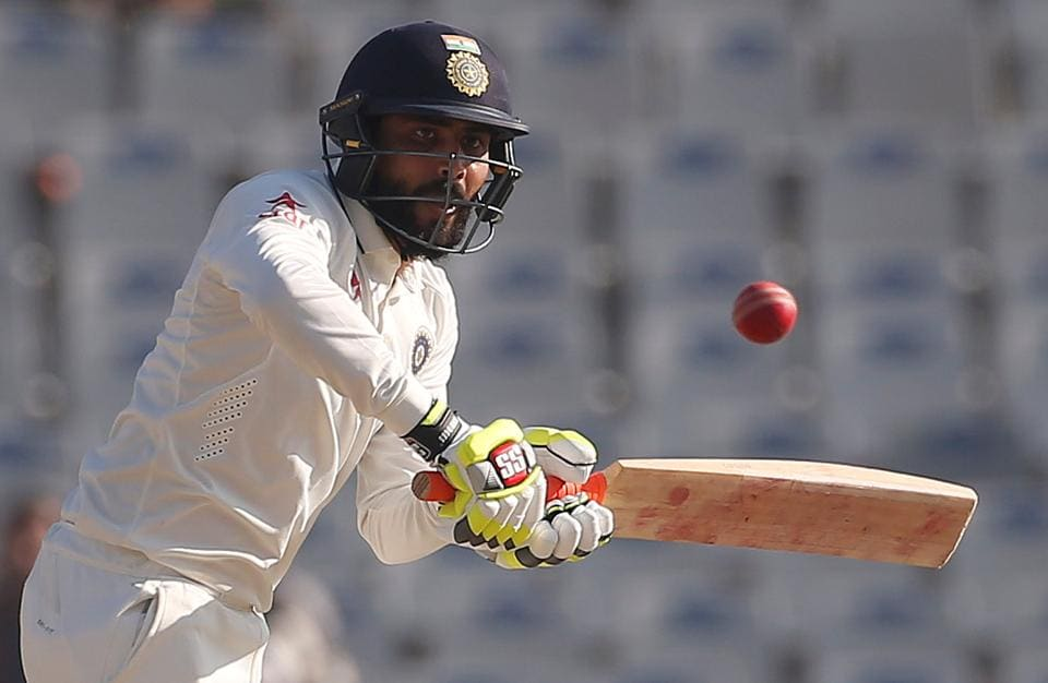 Jadeja brought up his third test fifty in 104 balls, marking the achievement with his trademark bat-swirling celebration. (REUTERS)