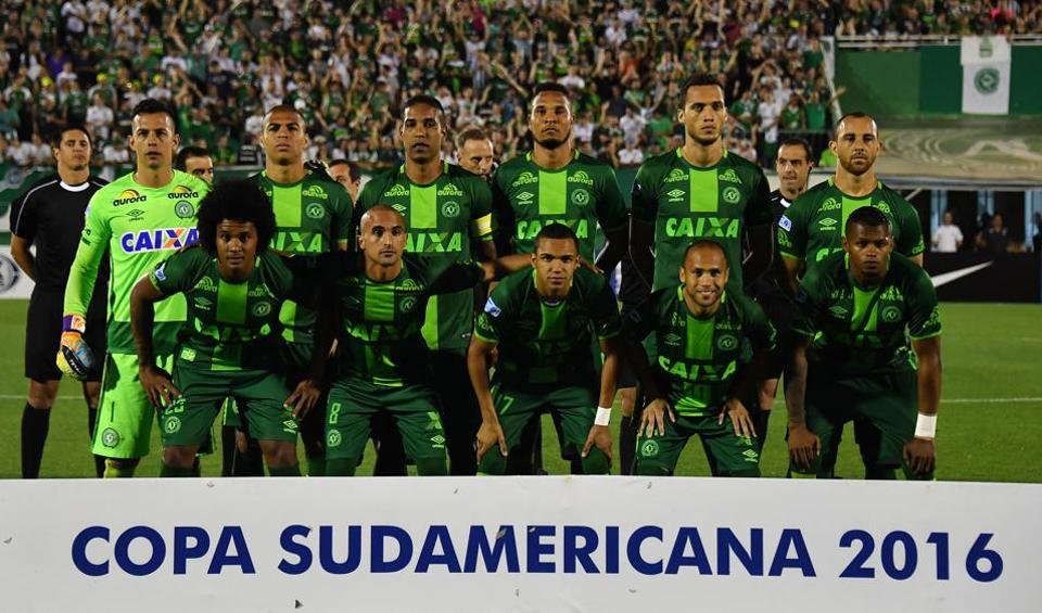 Brazil's Chapecoense players pose for pictures during their 2016 Copa Sudamericana semifinal second leg football match against Argentina's San Lorenzo held at Arena Conda stadium, in Chapeco, Brazil.