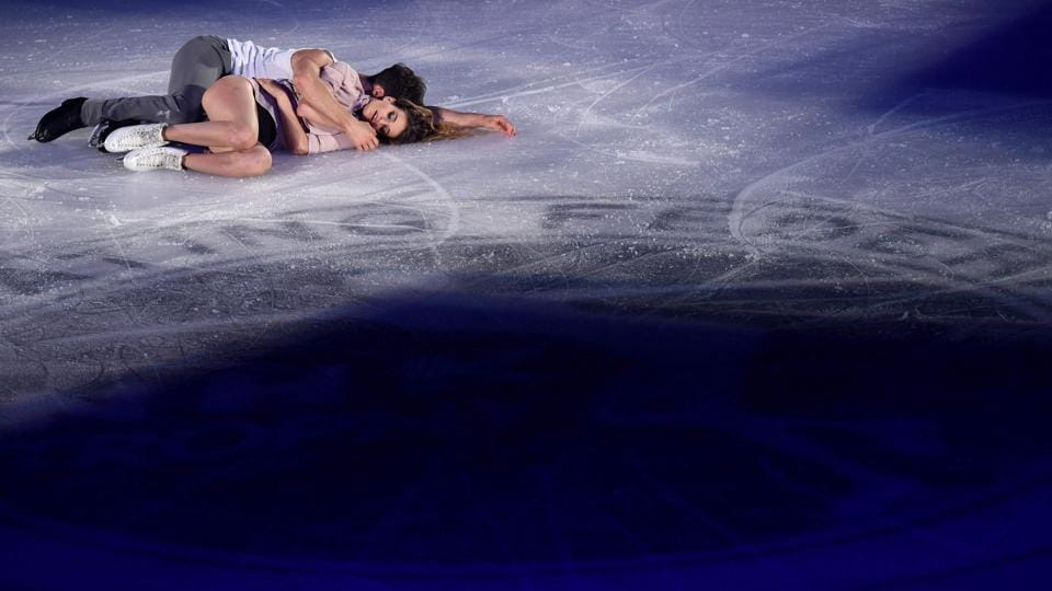 France's Gabriella Papadakis (front) and Guillaume Cizeron perform during the gala exhibition. (AFP)