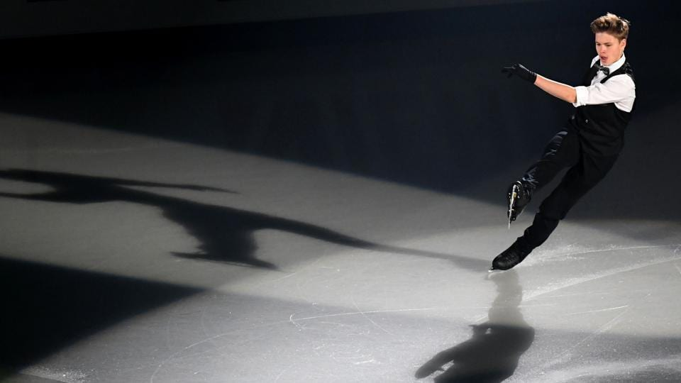 Latvia's Deniss Vasiljevs performs during the gala exhibition. (AFP)
