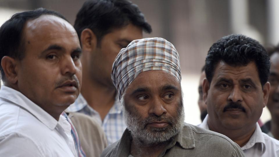 Khalistani miltant Harminder Singh Mintoo at Patiala House Court in New Delhi.
