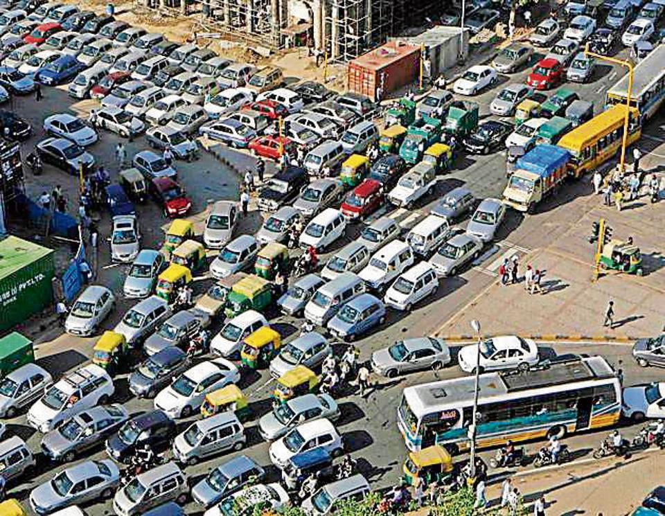 Traffic in Connaught Place, New Delhi, where more cars are sold than all other metros put together.