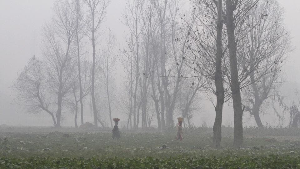 Kashmiri women walk surrounded by a dense fog on a cold morning on the outskirts Srinagar. The Kashmir region is experiencing cold and foggy conditions after the Himalayan mountains received snowfall in the past few days. (AP)