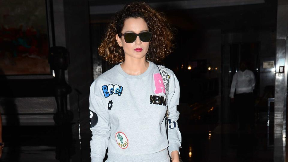 Kanagana Ranaut  sports an outfit with quirky patches.