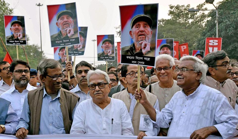 Left Front chairman Biman Bose, CPI(M) state secretary Surya Kanta Mishra and other Left party leaders during a rally to pay respect to Cuban leader Fidel Castro in Kolkata, November 26, 2016.