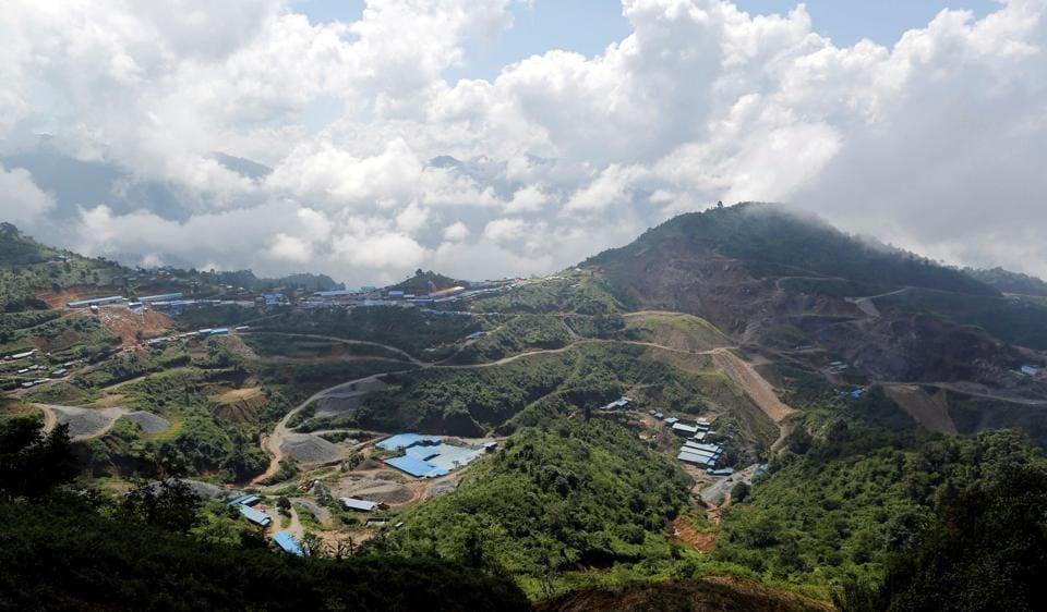 A tin mine is seen in Man Maw in ethnic Wa territory in northeast Myanmar.