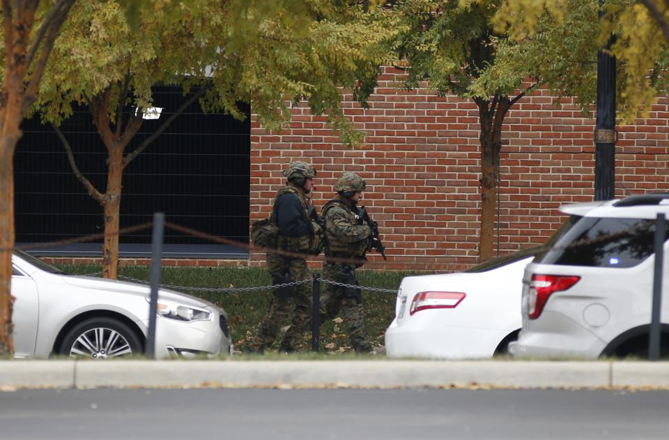 Law enforcement patrols outside of a parking garage after an attack on the campus of Ohio State University on Monday. (AP)