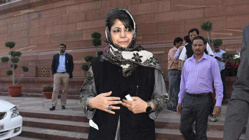 Jammu and Kashmir CM Mehbooba Mufti Sayeed at Parliament House in New Delhi