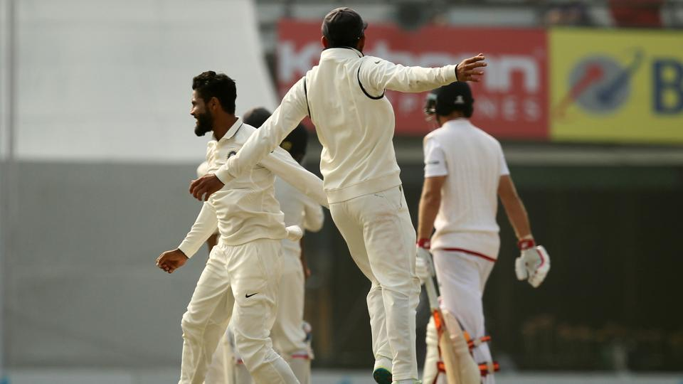 Ravindra Jadeja got the vital wicket of Joe Root for 78 as England stumbled before lunch. (BCCI)