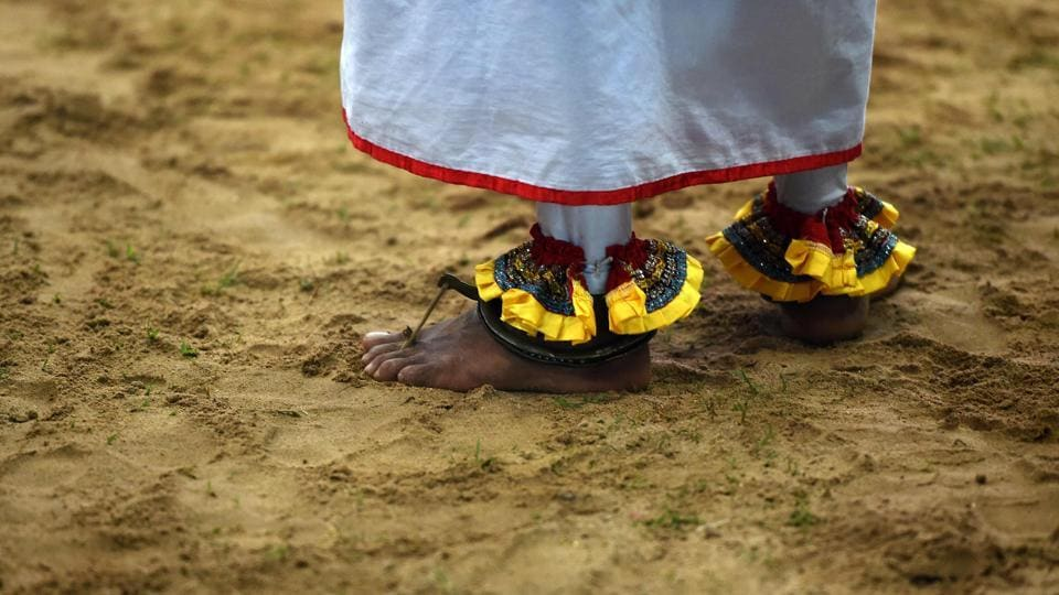 A Sri Lankan traditional dancer performs during the traditional ritual 'Gammaduwa' ceremony in Colombo on November 25, 2016.  (AFP)