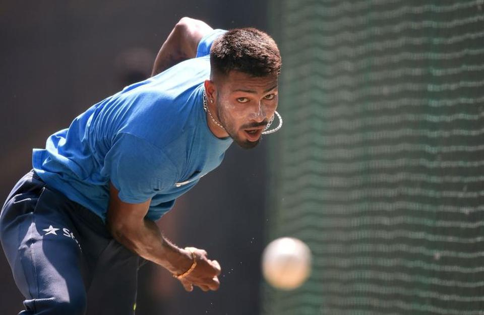 India's Hardik Pandya sustained a hairline fracture on his right shoulder after getting hit in the nets before the third Test in Mohali.