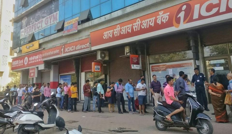 The queue outside ICICI bank in Bhandup on Wednesday.