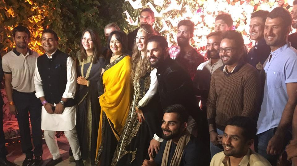 The Indian cricket team, who won the Mohali Test against England, attended the wedding ceremony between Yuvraj Singh and Hazel Keech. (hindustan times)