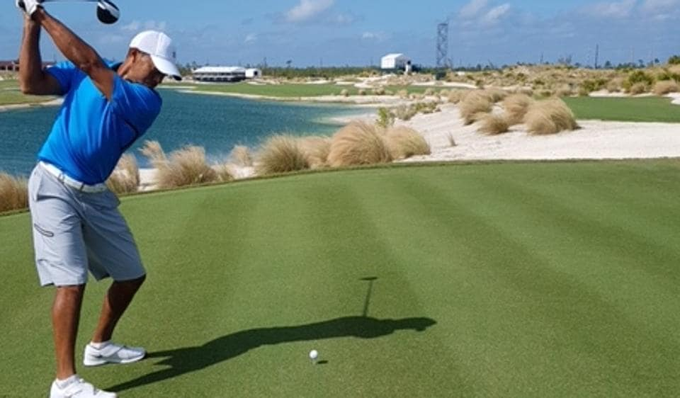 Tiger Woods drives during a practice round ahead of this week's Hero World Challenge in the Bahamas