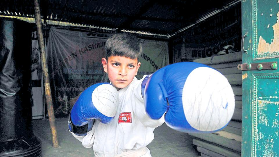 Hashim Mansoor at the martial arts training academy in Bandipora.