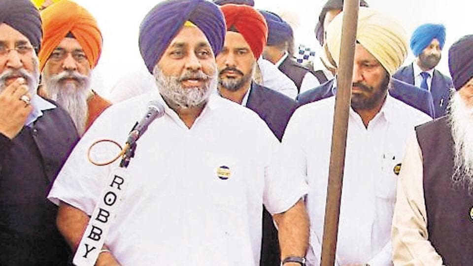 Deputy chief minister Sukhbir Singh Badal addressing party workers in Moga on Tuesday.