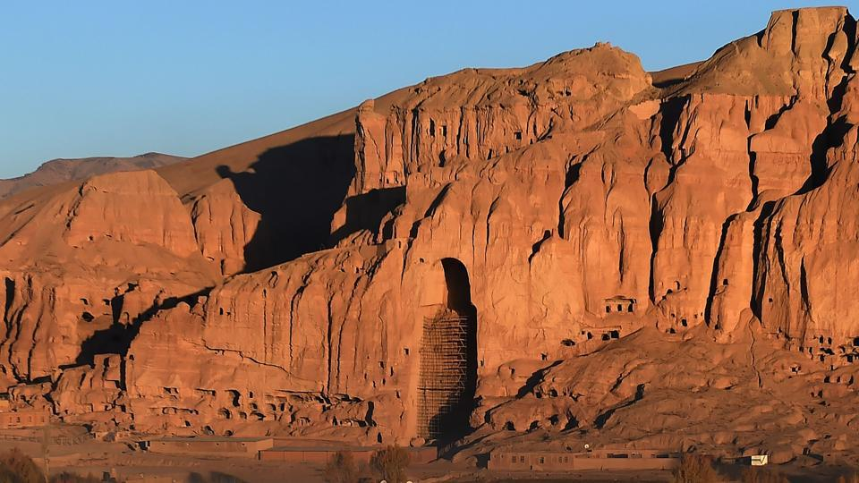 The hollow that once housed one of the giant Buddha statues, which were destroyed by the Taliban in 2001, are pictured in Bamiyan province.  (AFP)