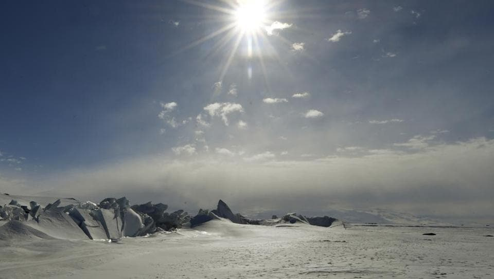 A frozen section of the Ross Sea at the Scott Base in Antarctica.