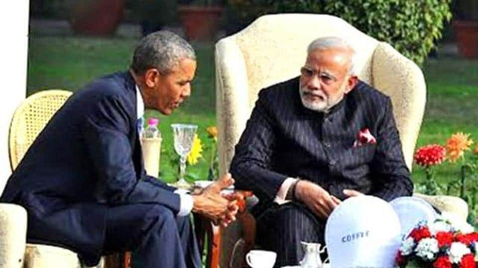 File photo of Prime Minister Narendra Modi and US President Barack Obama at the Hyderabad House in New Delhi.