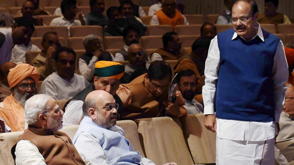 Prime Minister Narendra Modi,  BJP president Amit Shah,  minister of information and broadcasting M Venkaiah Naidu during the BJP parliamentary party meeting in New Delhi.