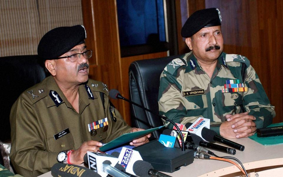 Additional DG, BSF, Arun Kumar addressing the media regarding the encounter with militants after infiltration at International border in Ramgarh, at BSF headquarters in Jammu.