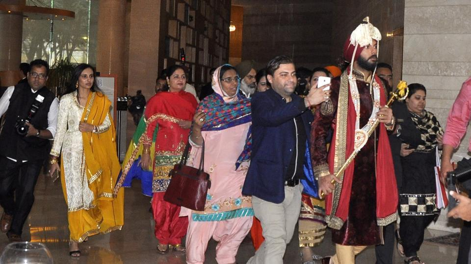 Yuvi with his baraat. (Sant Arora/ HT Photo)