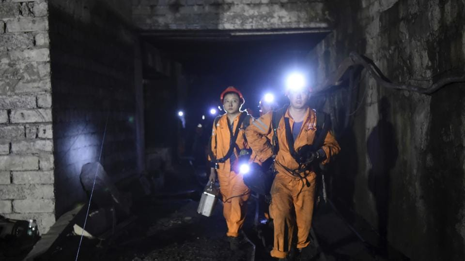 Rescuers workers at Jinshangou coal mine in China where 33 people were killed after an explosion in the coal mine on October 31.