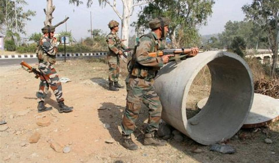 A junior commissioned officer suffered a gunshot injury near the Line in Control in Poonch district on Wednesday morning.