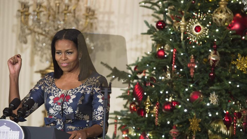 First Lady Michelle Obama speaks during the unveiling of the 2016 holiday decorations in the theme of