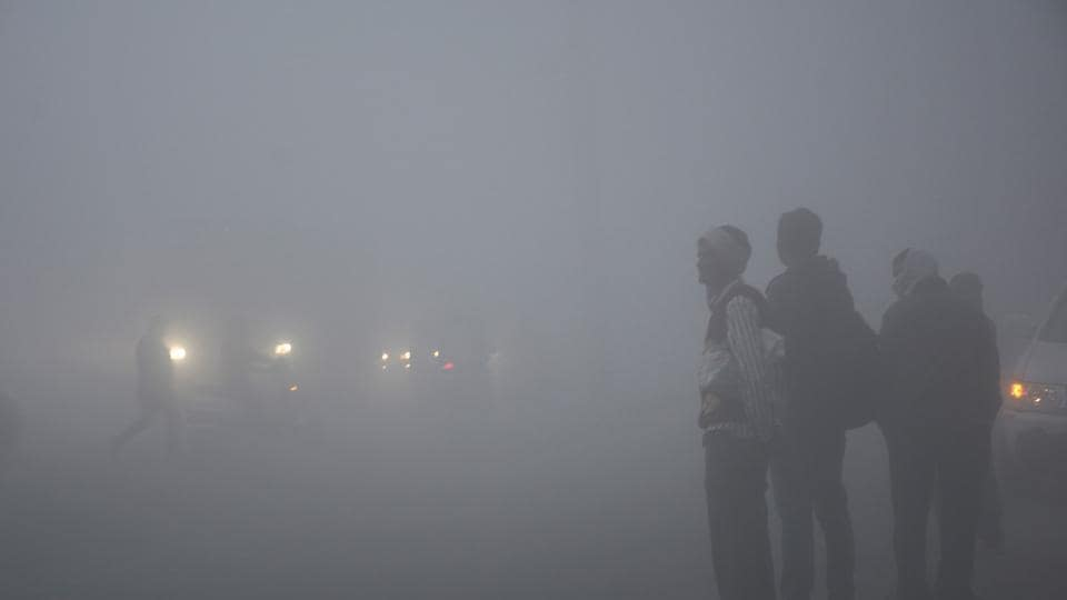 Ghaziabad , India - November 30. Dense fog engulfed NH-24 stretches in Ghaziabad since early Wednesday morning in Ghaziabad, India, on Thursday, November 30, 2016.