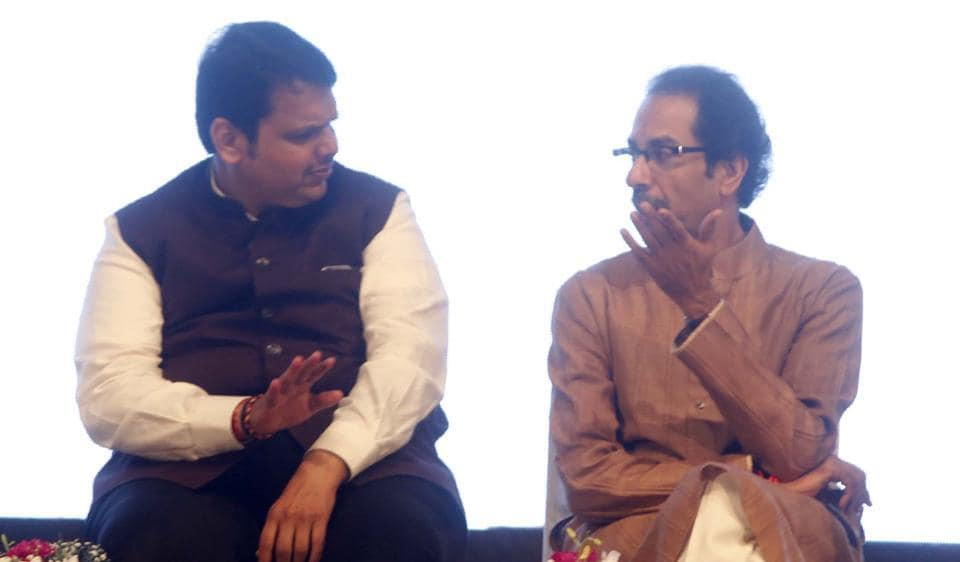 Chief Minister Devendra Fadnavis with Shiv Sena chief Uddhav Thackeray. Last month, in an interview to Hindustan Times, the chief minister said the two parties would come together for the civic polls in the city.