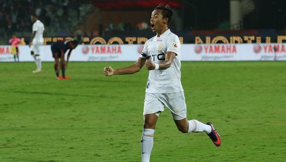Seityasen Singh scored the first goal for the NorthEast United FC against the Delhi Dynamos FC  at the Indira Gandhi Athletic Stadium in Guwahati.