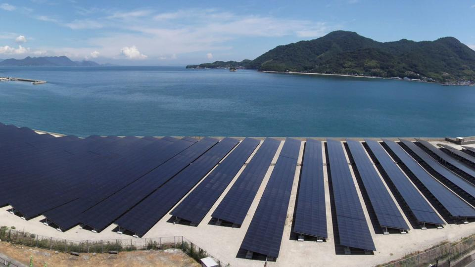 A solar plant near Yokosuka city in Japan. The country is facing a shortage of available land for new solar installations, driving support for floating installations.