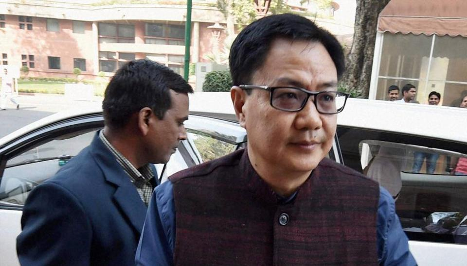 Minister of state for home affairs, Kiren Rijiju at Parliament during the winter session.