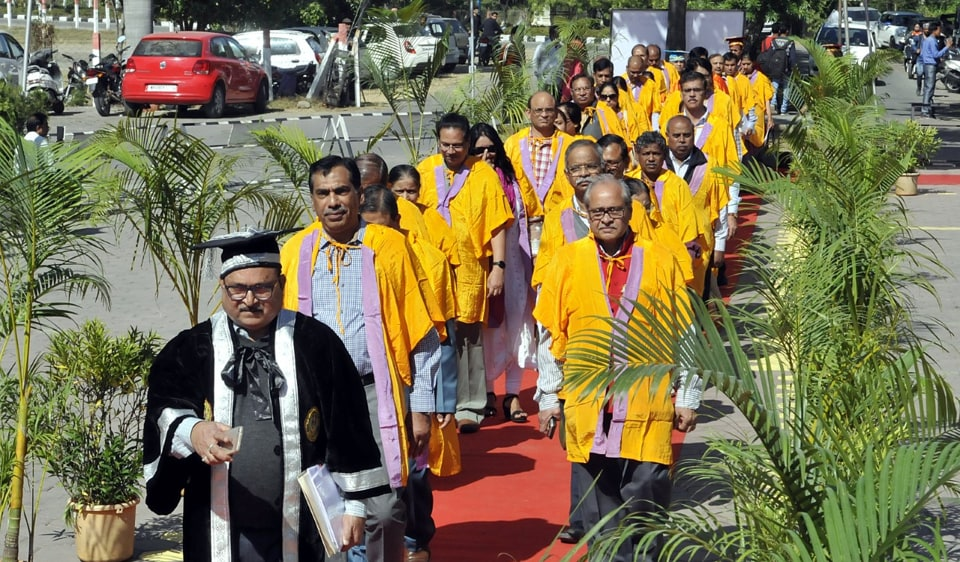 Final dress rehearsal being conducted for the 51st convocation of Devi Ahilya Vishwavidyalaya to be conducted on Thursday in Indore on Wednesday.